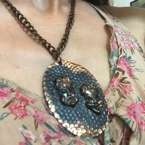 Vintage Jewelry - Copper Theatre 🎭 Mask Necklace
